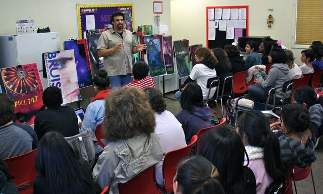 """Neal Shusterman, the author of the """"Unwind"""" and """"Everlost"""" series, spoke to about 50 students on Wednesday and answered questions about his popular books. He also spoke about writing a screenplay for """"Unwind."""""""