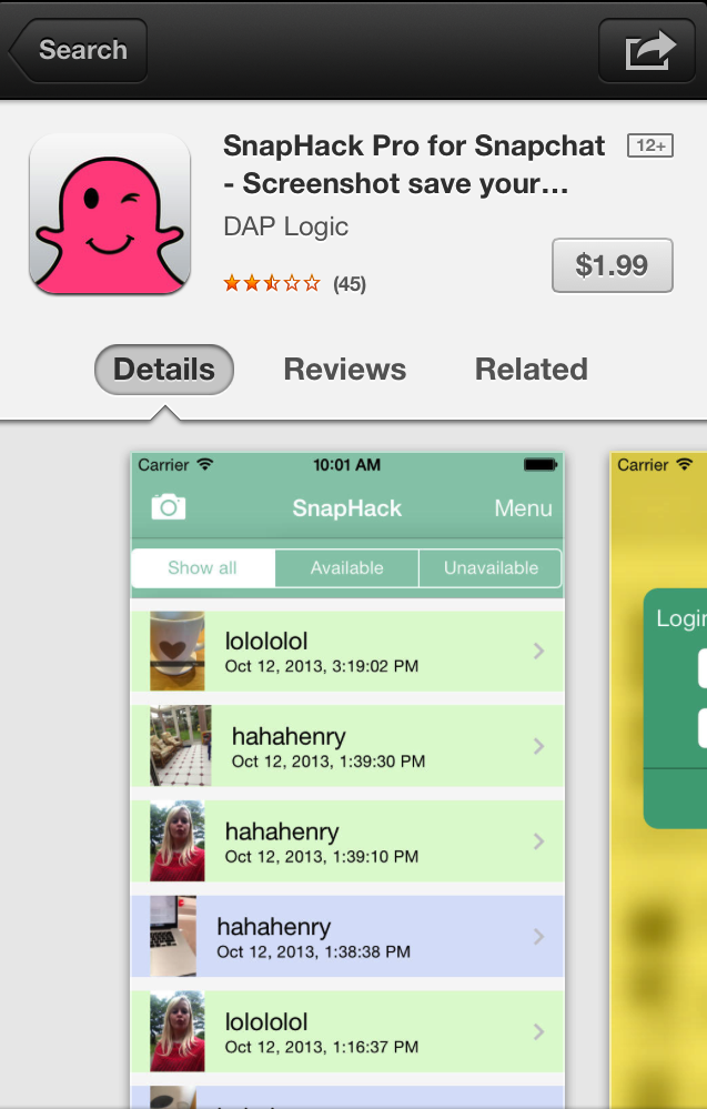 Screenshot from the Apple App Store Snaphack is available in the Apple App Store for $1.99.